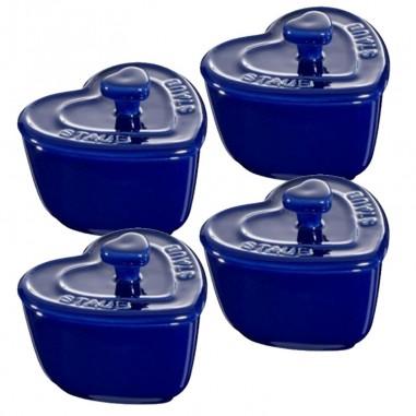 Mini Cuore blu 8 cm Set di 4 Pezzi
