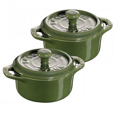 Set 2 mini cocotte verde 10 cm